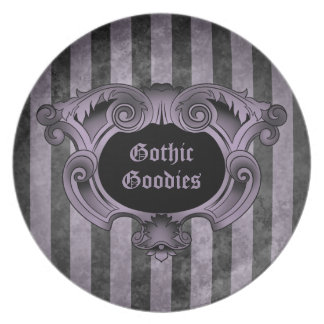 Gothic ornate design black and purple striped dinner plates