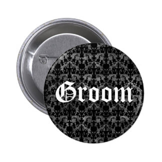 Gothic pattern button for the Groom black gray