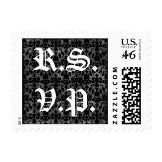 Gothic pattern R.S.V.P. postage stamps stamp