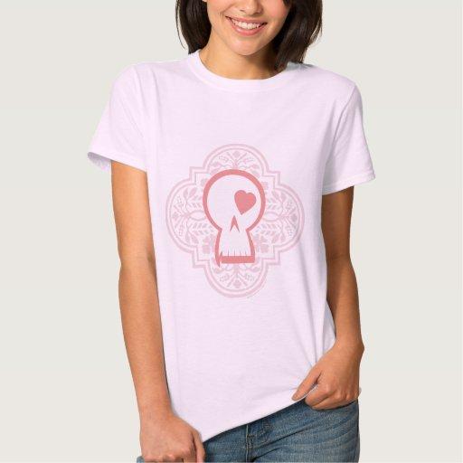 Gothic Pattern Skull Logo in pink T Shirt