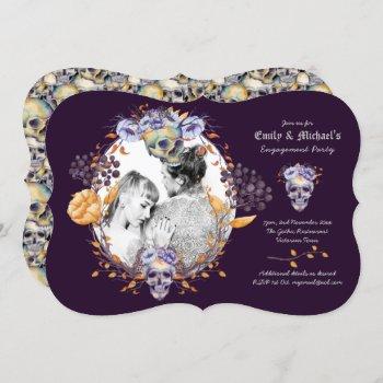 Gothic PHOTO Wedding/Engagement Purple Skulls Invitation
