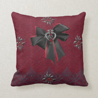 Gothic Pillow Deep Red & Black Lace ornaments goth