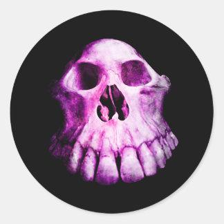 Gothic pink and purple weird skull classic round sticker