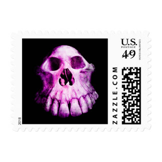 Gothic pink and purple weird skull postage stamp