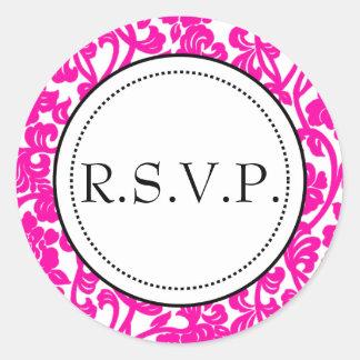Gothic Pink & White Flourish Envelope Seals Classic Round Sticker
