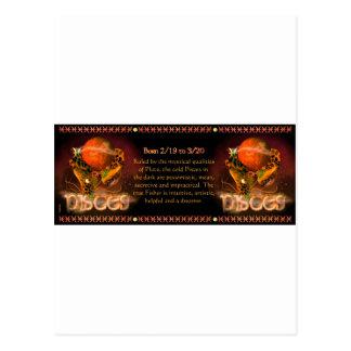Gothic Pisces zodiac astrology by Valxart.com Postcard