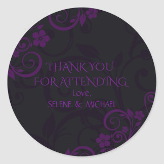 Gothic Plum Thank You Stickers