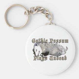 Gothic Possum Plays Undead Basic Round Button Keychain