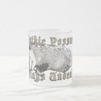 Gothic Possum Plays Undead 10 Oz Frosted Glass Coffee Mug