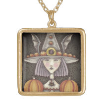 GOTHIC PUMPKIN BAT WITCH, GOLD FINISH NECKLACE Squ