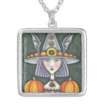 GOTHIC PUMPKIN BAT WITCH, SILVER PLATED NECKLACE