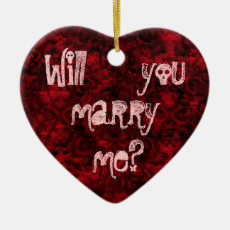 Gothic punk cute marriage proposal heart ornament