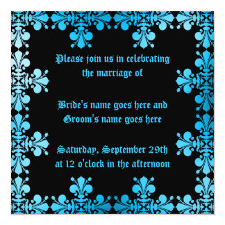 Gothic punk discolored damask blue and black card