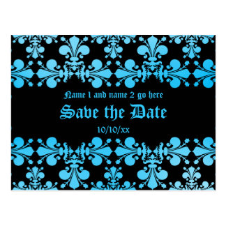 Gothic punk discolored damask blue and black postcard