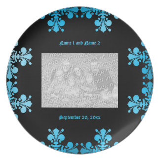 Gothic punk discolored damask commemorative plate