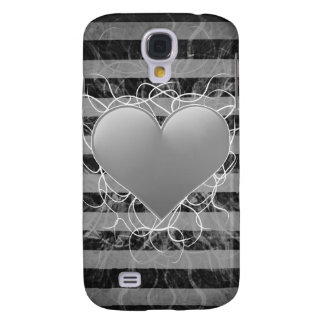 Gothic punk emo black and white heart with stripes samsung galaxy s4 covers