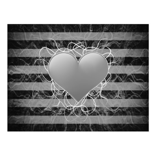 Gothic punk emo black and white heart with stripes postcard