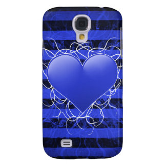 Gothic punk emo blue heart with black stripes galaxy s4 cases