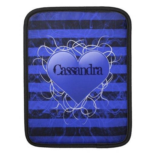 Gothic punk emo blue heart with black stripes sleeves for iPads