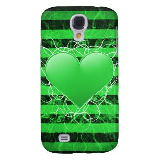 Gothic punk emo green heart with black stripes galaxy s4 cases