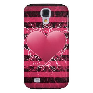Gothic punk emo pink heart with black stripes samsung galaxy s4 covers