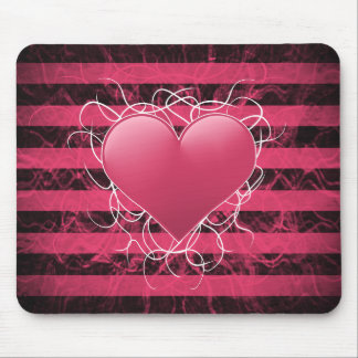 Gothic punk emo pink heart with black stripes mouse pad