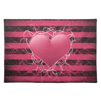 Gothic punk emo pink heart with black stripes placemat