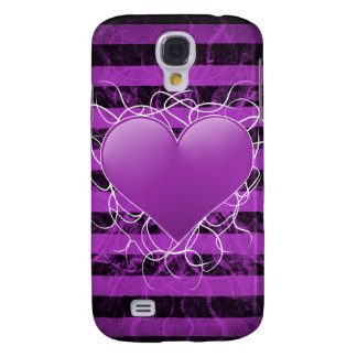 Gothic punk emo purple heart with black stripes galaxy s4 cases