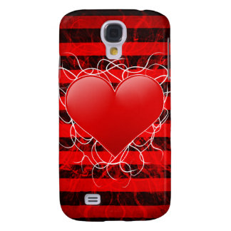 Gothic punk emo red heart with black stripes samsung galaxy s4 cover
