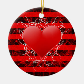 Gothic punk emo red heart with black stripes ceramic ornament