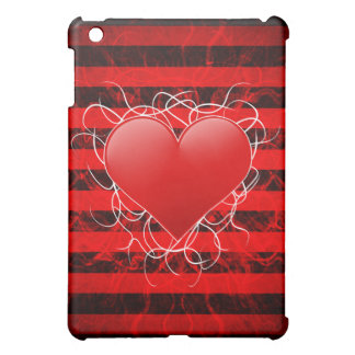 Gothic punk emo red heart with black stripes case for the iPad mini