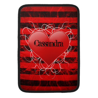 Gothic punk emo red heart with black stripes sleeve for MacBook air