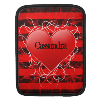 Gothic punk emo red heart with black stripes sleeves for iPads