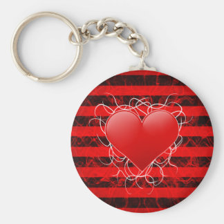 Gothic punk emo red heart with black stripes keychain