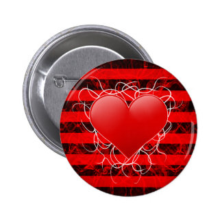 Gothic punk emo red heart with black stripes pinback button