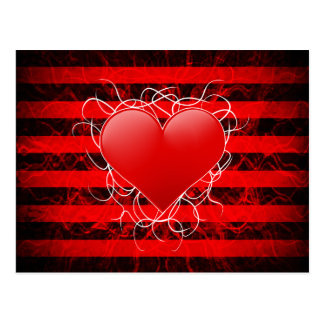 Gothic punk emo red heart with black stripes post cards