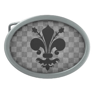 Gothic punk fleur de lis on gray checkerboard belt buckle