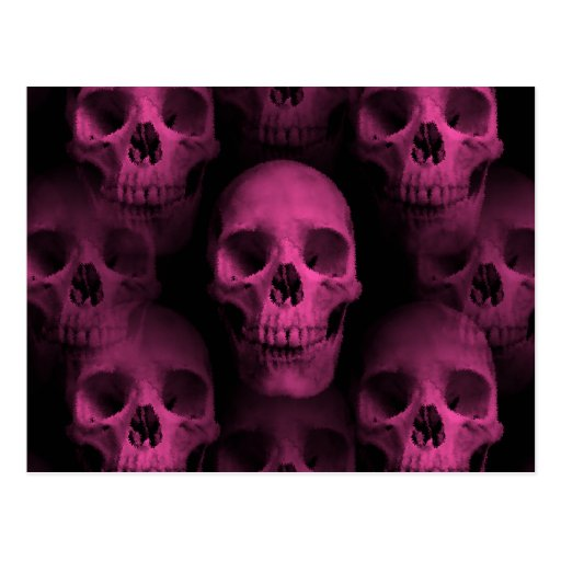 Gothic punk girly hot pink cute skull post cards