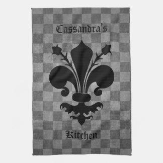 Gothic punk gray checkerboard black fleur de lis hand towel
