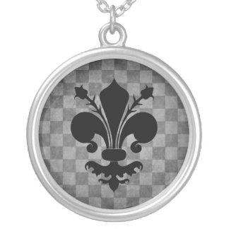 Gothic punk gray checkerboard black fleur de lis round pendant necklace