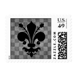 Gothic punk gray checkerboard black fleur de lis postage stamp