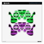 Gothic punk grungey purple and green stripes decal for PS3 controller