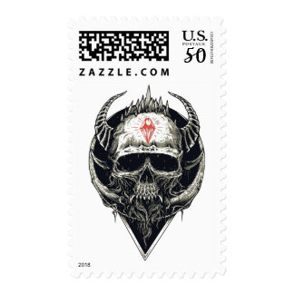 Gothic Punk Skull Head Demonic Goth Stamp