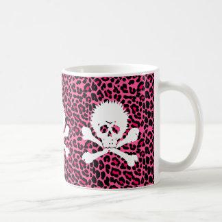 Gothic Punk Skull with Pink Leopard Print Coffee Mug