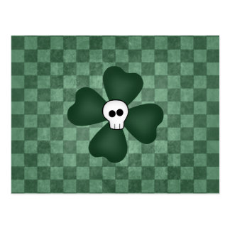 Gothic punk St Patrick s Day shamrock and skull Post Card