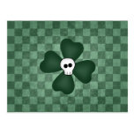 Gothic punk St. Patrick's Day shamrock and skull Post Card