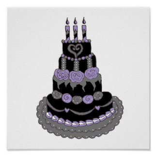 Gothic Purple Birthday Cake Poster