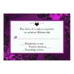 Gothic Purple, Black, and White Floral RSVP Card