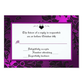 Gothic Purple, Black, and White Floral RSVP Card Custom Invitations