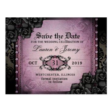 Halloween Themed Gothic Purple & Black Halloween Save Date PostCard